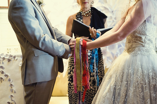 Handfasting ribbons hand woven by the bride's best friend