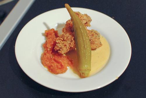 Ernesto Uchimura (Plan Check) fried chicken, smoked milk gravy, pickled okra