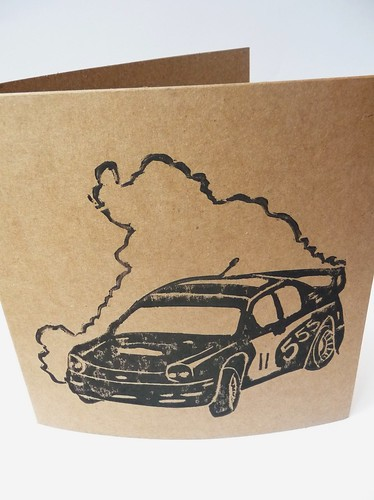 Rally Car Linocut Print