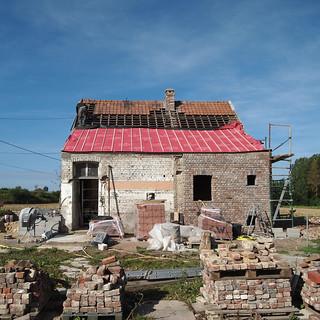 démontage de la toiture principale