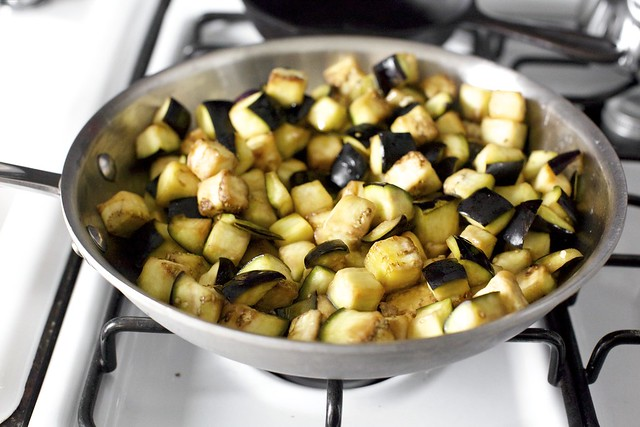 browning the eggplant