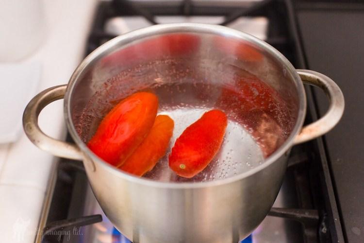 Blanching Fresh San Marzano Tomatoes