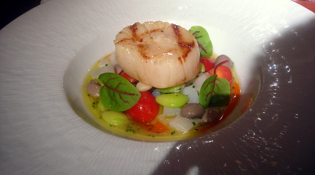 Seared scallop, fava beans, Rancho Gordo beans, heirloom tomatoes, sorrel