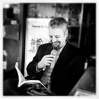Author's talk, #natbookshopday #instagramhub #bw #author #reading