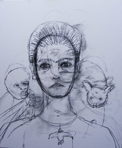 Frida Kahlo Self-Portrait 1940 Study WIP #1