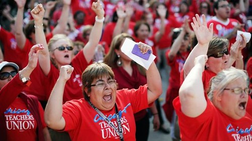 Chicago teachers threaten to strike for a decent contract.