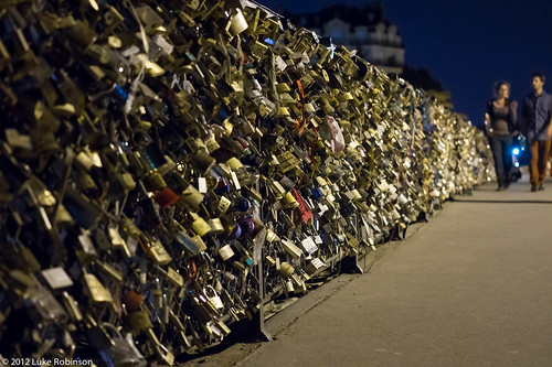 Love Locks on the Pont de l'Archeveché, Night