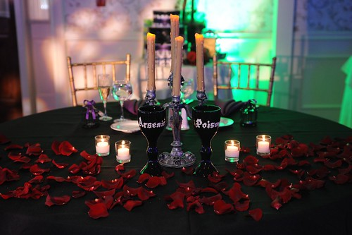 This was our sweetheart table. Complete with Arsenic and Poison wine glasses.