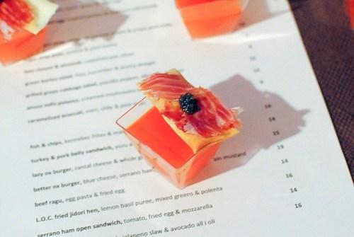 Perfecto Rocher (Lazy Ox Canteen) watermelon gazpacho, jamon iberico, caviar