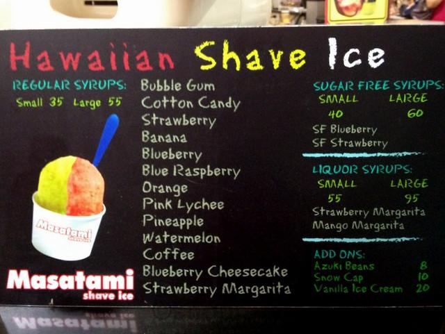 Masatami Hawaiian Shave Ice menu