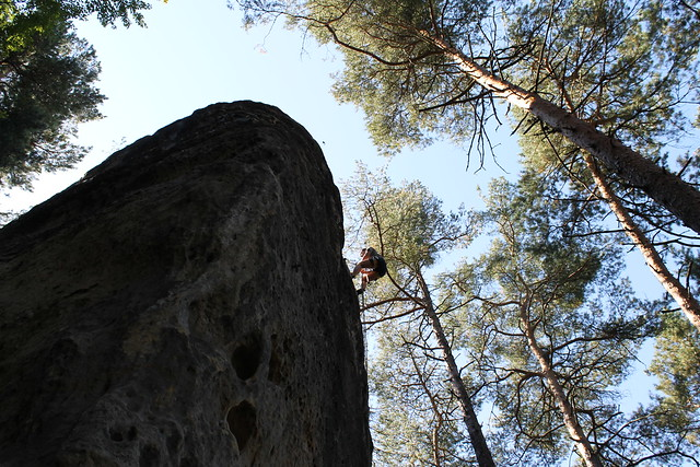 Belaying myself down for the first time...