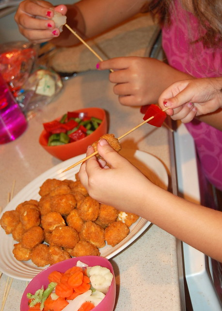 making chicken nugget kabobs