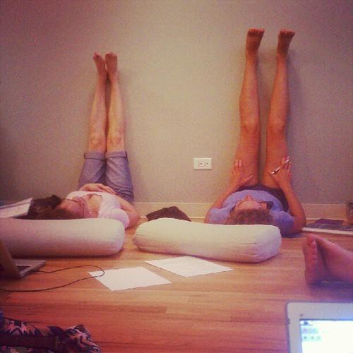 Me and Ariel in Viparita Karani (Legs-up-the-Wall Pose)