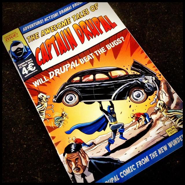 Bild på serietidning med Captain Drupal
