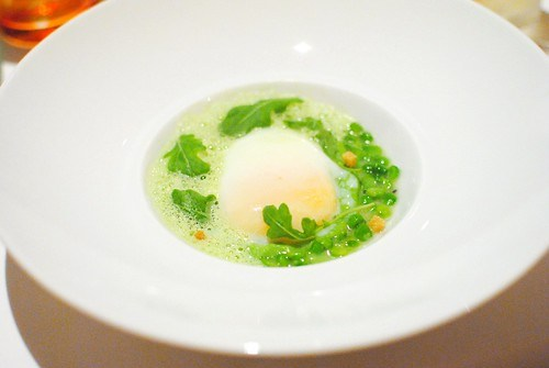 Poached Farmed Egg peas, kalamansi, arugula