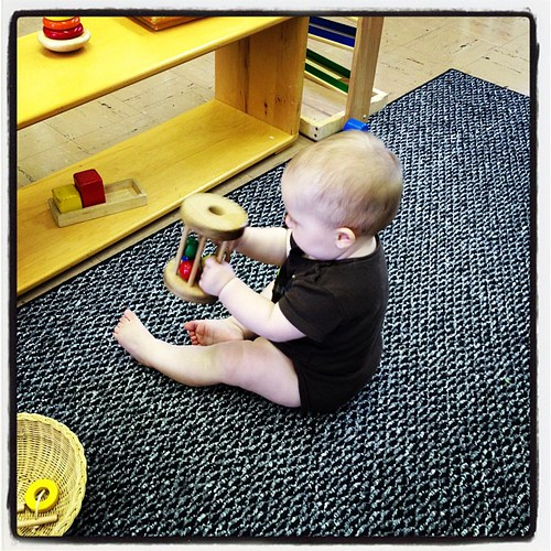 Maddy loved this wooden rattle toy.