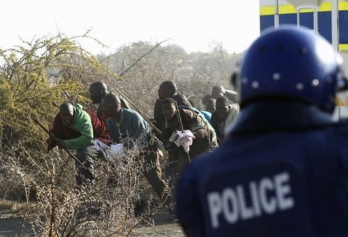 Clashes between mineworkers and police at the Marikana mines where platinum is extracted. Official reports indicate around 44 have died over the last week.