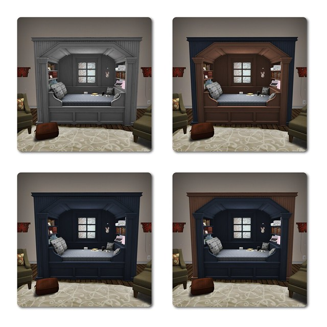 Trompe Loeil - Morning Light Cupboard Bed - Blue Thistle Tint Variations