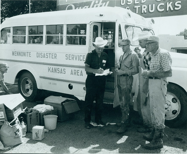 Mennonite Disaster Service group working the 1965 Newton, Kansas, flood