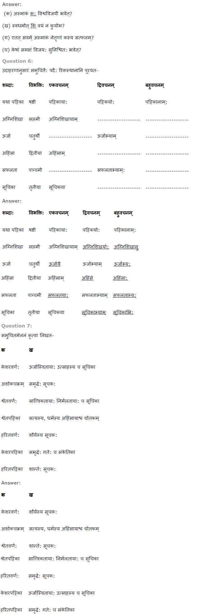 NCERT Solutions for Class 7th Sanskrit Chapter 8 - त्रिवर्ण ध्वज