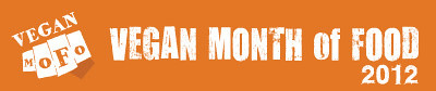 Orange banner with the words Vegan Month of Food 2012.