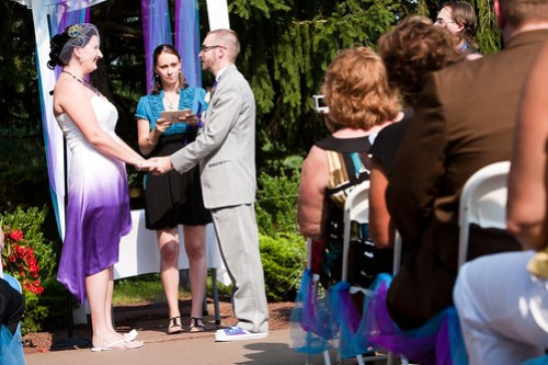 custom made purple ombre dress. the celebrant for our self-uniting ceremony was my best friend since we were 12