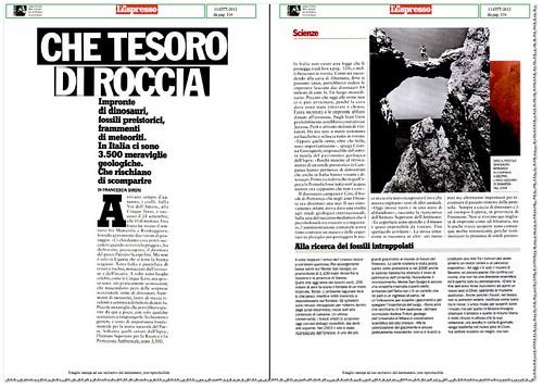 ITALIA BENI CULTURALI: CHE TESORO DI ROCCIA - Impronte di dinosauri, fossili preistorici, frammenti di meteoriti (...) Che rischiano di scomparire. l'Espresso (11/10/2012), p. 116 [PDF pp. 1-6].  by Martin G. Conde