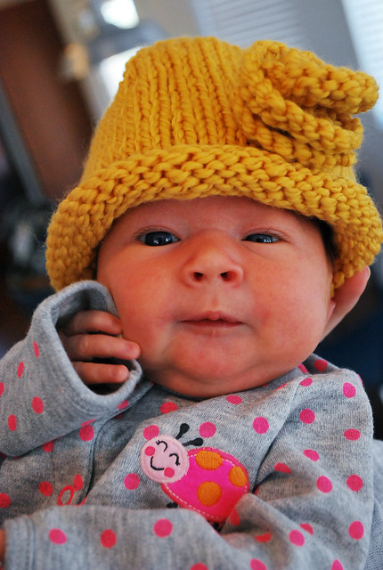 Harper in her knitted hat from Aunt Lisa