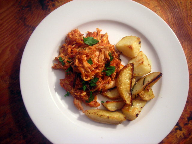 Shredded chicken with tomato and porcini mushroom sauce; Greek lemon potatoes