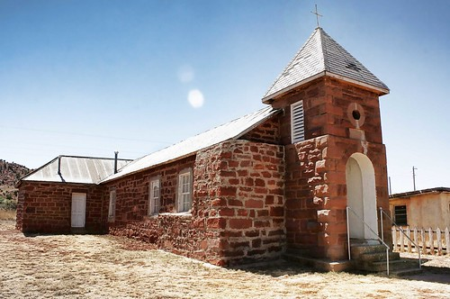Abandoned but well-kept church in Cuervo, NM. Route 66. Copyright Liberty Images.