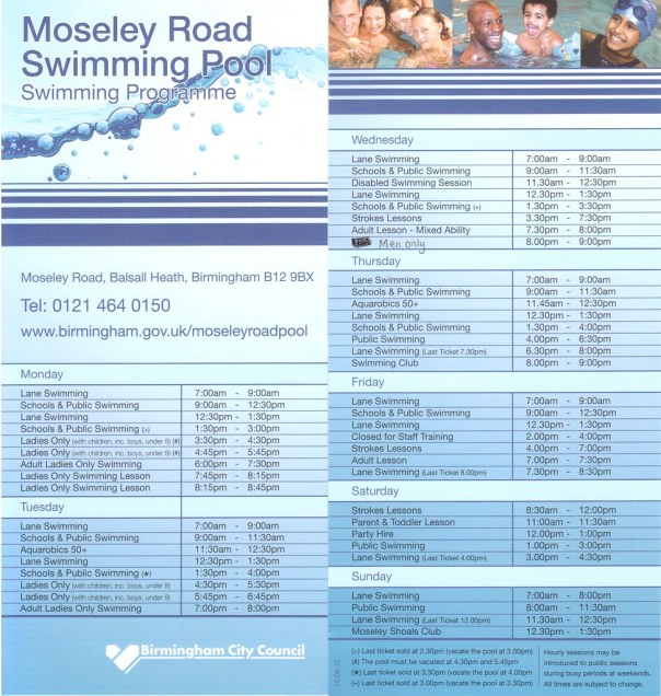 MRB swim timetable