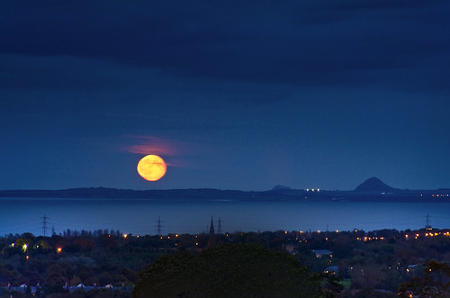 Moonrise over East Lothian