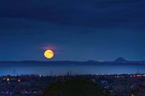 Moonrise over East Lothian