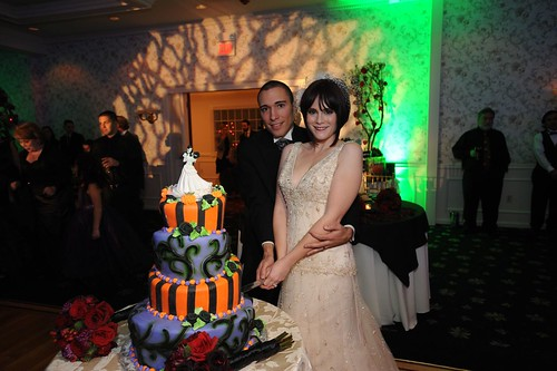 The cake-cutting was set to Alice Cooper's Feed My Frankenstein