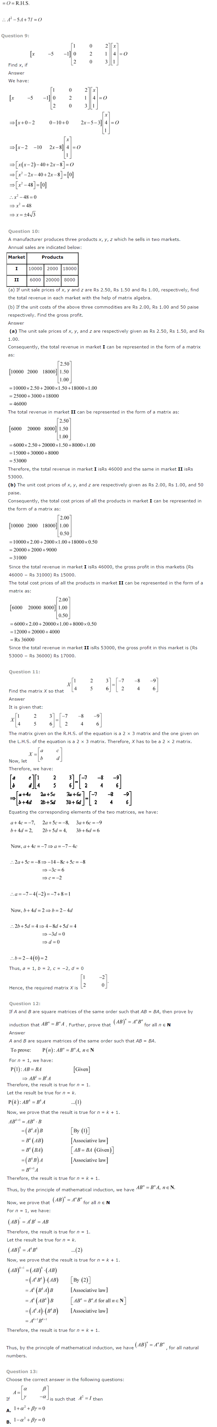 NCERT Solutions for Class 12 Maths Chapter 3 Matrices ex 3.13