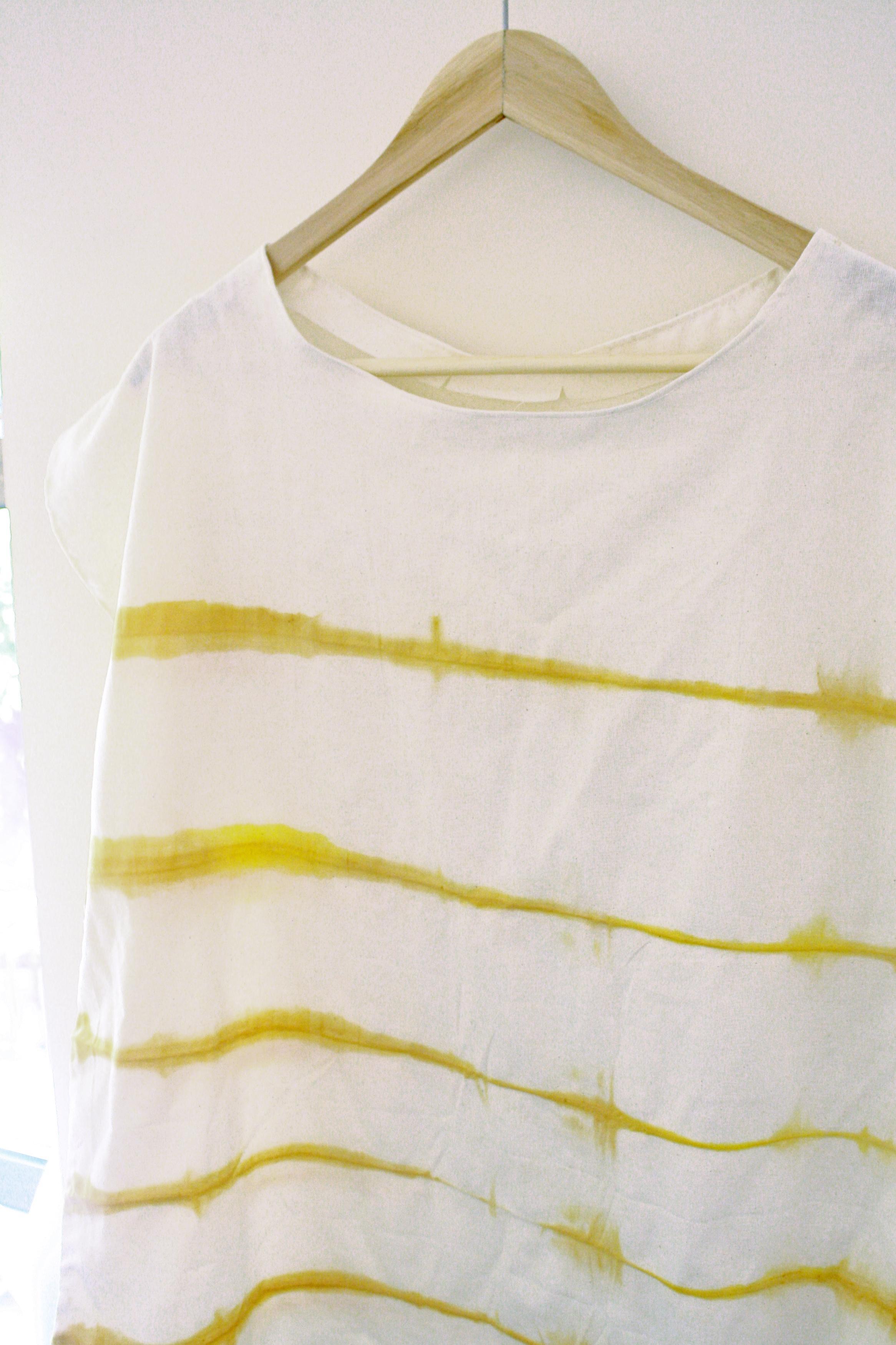 Shibori print yellow turmeric t-shirt