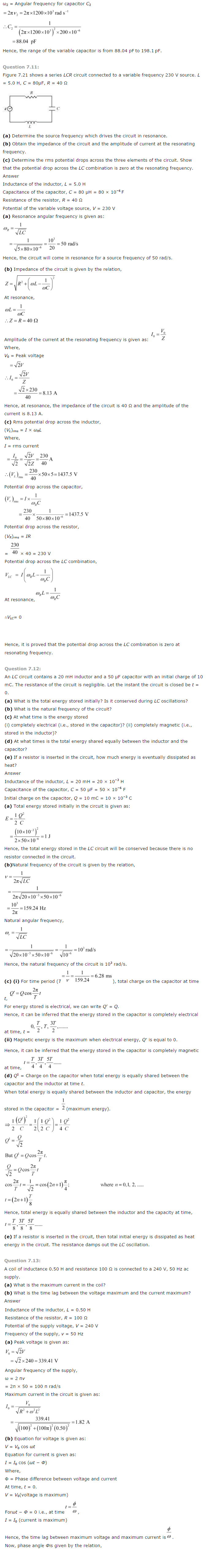 NCERT Class 12th Physics Solutions Chapter 7 Alternating Current