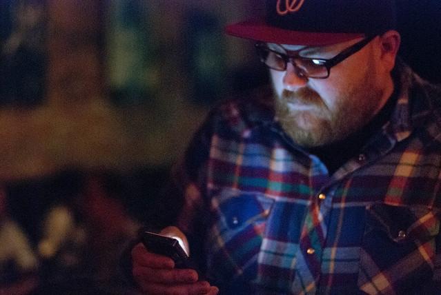 texting at a bar