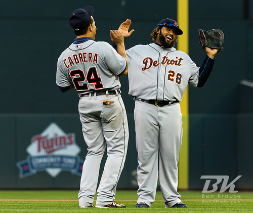 Detroit Tigers Miguel Cabrera #24 and Prince Fielder #28 on September 29, 2012