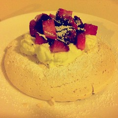Father's Day Dessert: Meringue with whipped cream + fresh strawberries...