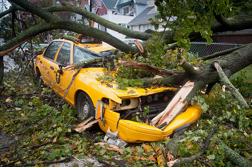 NYC taxi cab crushed in Ditmas Park