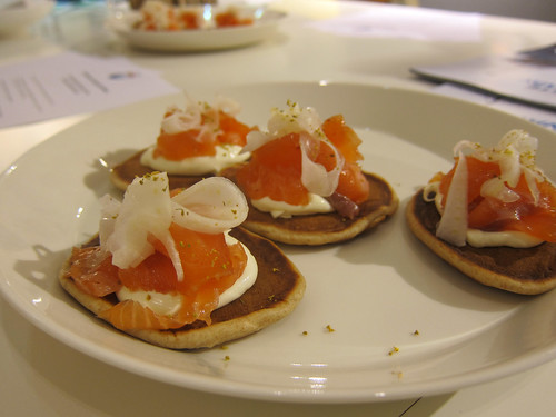Cured Salmon with a Shot of Linie Aquavit, Rye Pannekaker, Sour Cream and Pickled Fennel