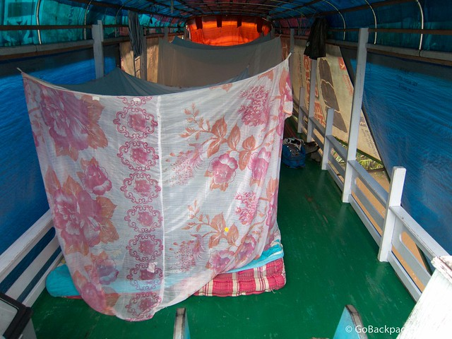 The guests sleep on mattresses on the top deck, while the crew is down below