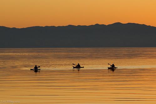 Kayakers Sunset Bay by CatDancing