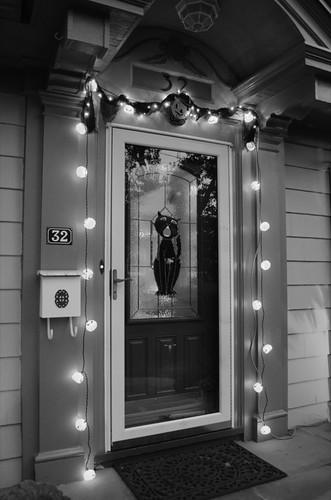 Halloween outdoor lights, b & w