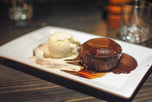 Warm Chocolate Caramel Cake Vanilla Ice Cream and a Brownie
