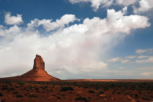 Butte with rain cloud at Monument Valley Navajo Tribal Park, Utah by Jeka World Photography