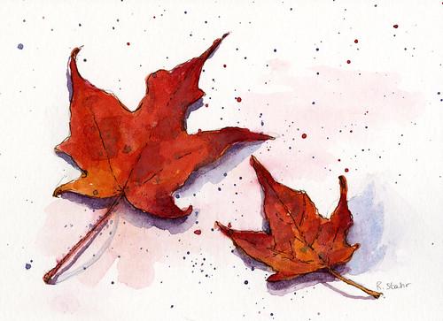 Watercolor Leaf Series002
