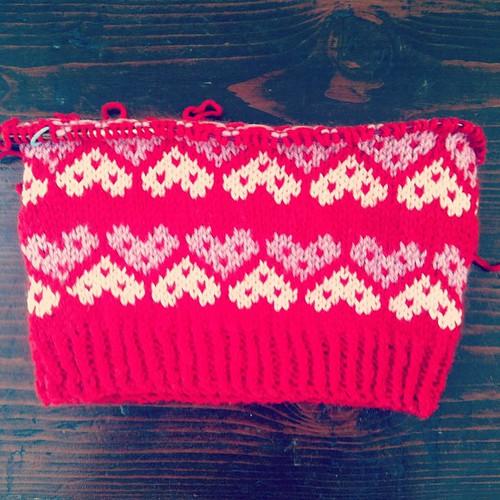 """Not your valentine"" fair isle hat, day 2 progress :)"