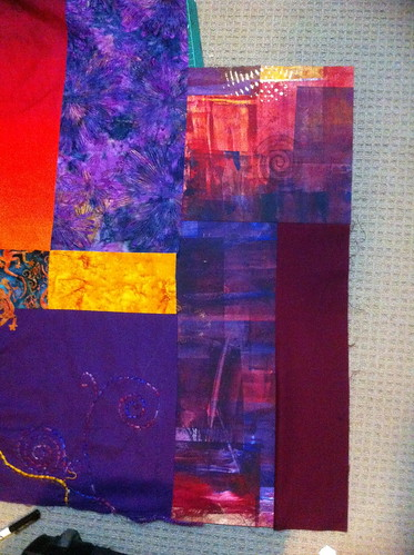 Piecing the handmade fabric into the quilt II